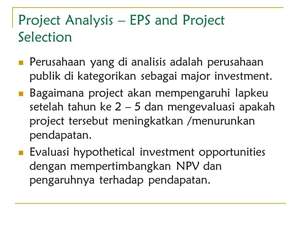 Project Analysis – EPS and Project Selection Perusahaan yang di analisis adalah perusahaan publik di kategorikan sebagai major investment. Bagaimana p