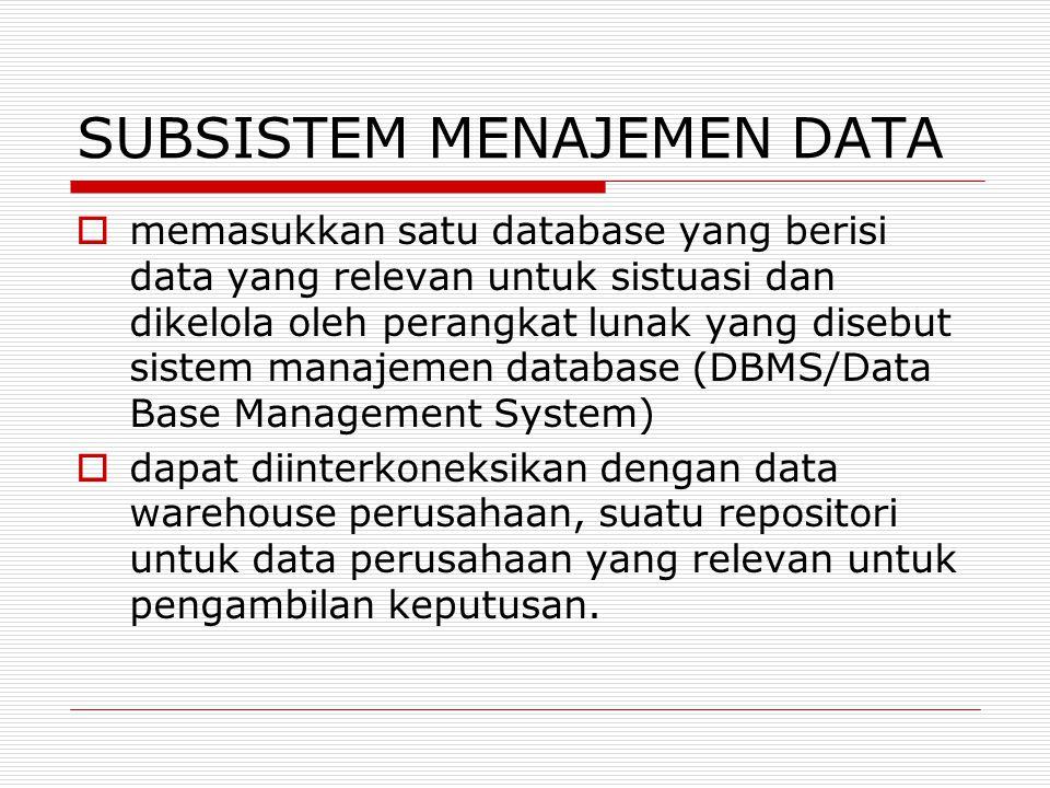 SUBSISTEM MENAJEMEN DATA  memasukkan satu database yang berisi data yang relevan untuk sistuasi dan dikelola oleh perangkat lunak yang disebut sistem
