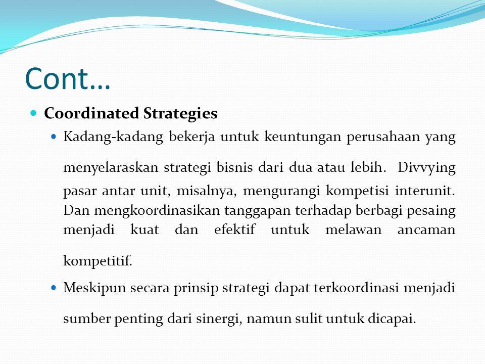 Cont… Shared Tangible Resources Unit kadang-kadang dapat menghemat banyak uang dengan berbagi aset fisik atau sumber daya.