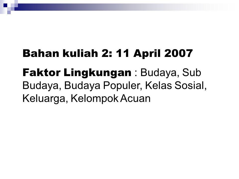 Bahan kuliah 2: 11 April 2007 Faktor Lingkungan : Budaya, Sub Budaya, Budaya Populer, Kelas Sosial, Keluarga, Kelompok Acuan