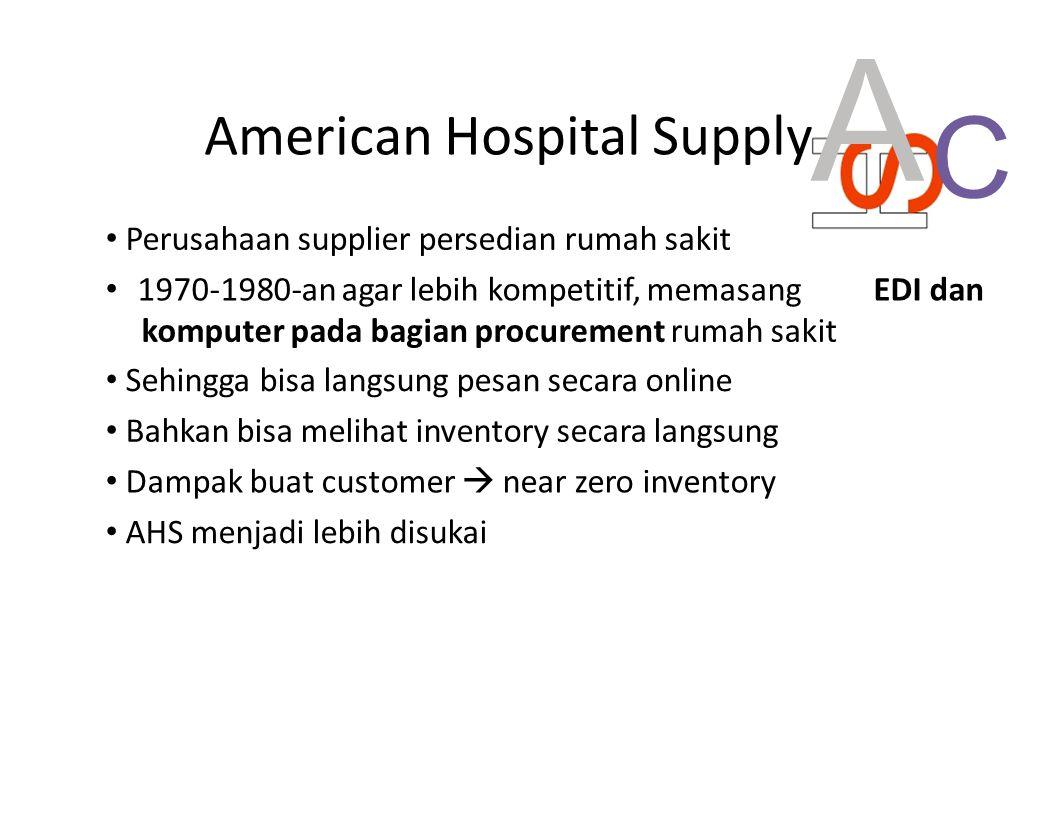 American Hospital Supply A Perusahaan supplier persedian rumah sakit 1970-1980-an agar lebih kompetitif, memasang EDI dan komputer pada bagian procure
