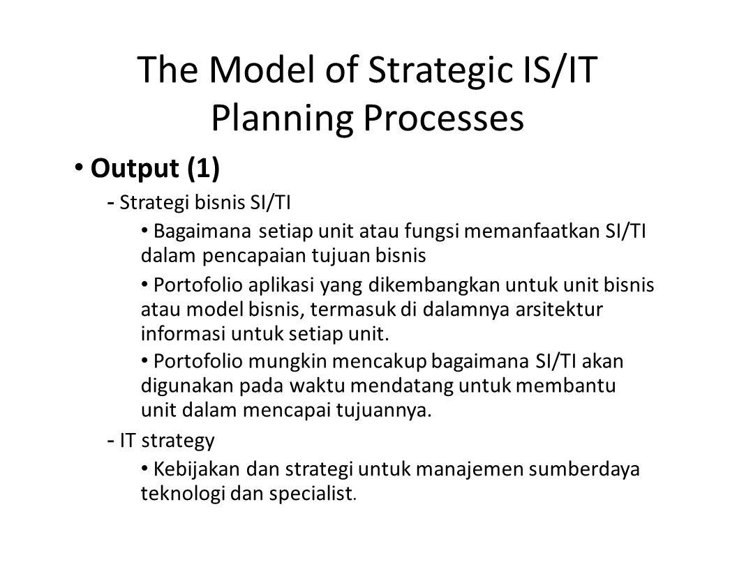 The Model of Strategic IS/IT Planning Processes Output (1) - Strategi bisnis SI/TI Bagaimana setiap unit atau fungsi memanfaatkan SI/TI dalam pencapai