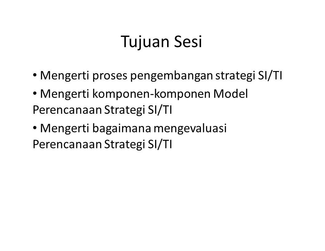 Tujuan Sesi Mengerti proses pengembangan strategi SI/TI Mengerti komponen-komponen Model Perencanaan Strategi SI/TI Mengerti bagaimana mengevaluasi Pe
