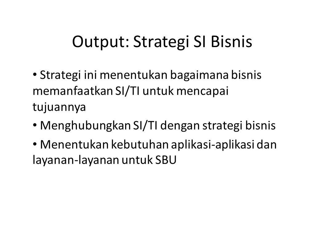 Output: Strategi SI Bisnis Strategi ini menentukan bagaimana bisnis memanfaatkan SI/TI untuk mencapai tujuannya Menghubungkan SI/TI dengan strategi bi