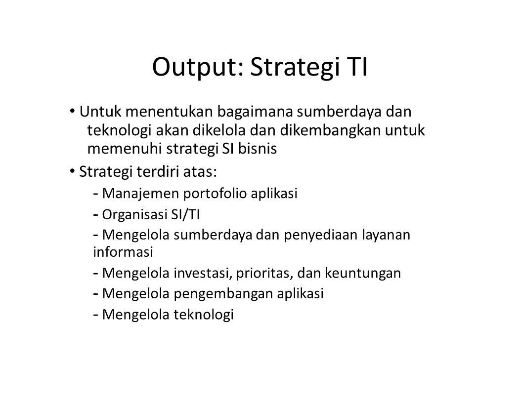 Output: Strategi TI Untuk menentukan bagaimana sumberdaya dan teknologi akan dikelola dan dikembangkan untuk memenuhi strategi SI bisnis Strategi terd