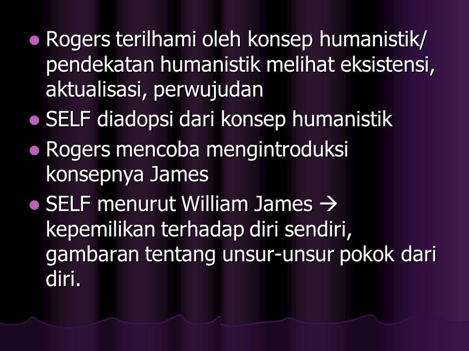 Rogers terilhami oleh konsep humanistik/ pendekatan humanistik melihat eksistensi, aktualisasi, perwujudan Rogers terilhami oleh konsep humanistik/ pe