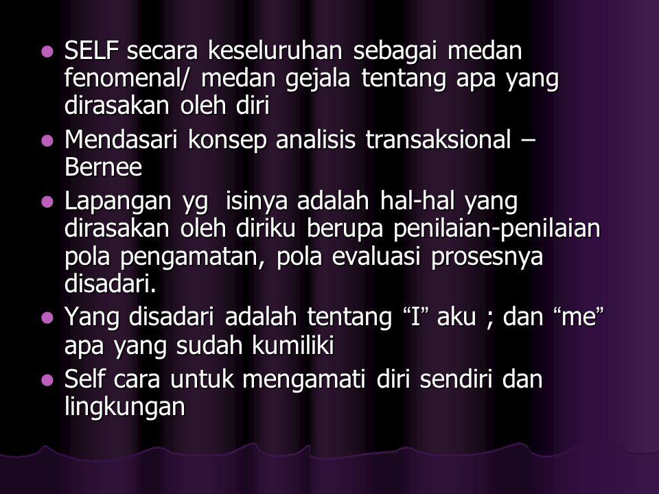 SELF secara keseluruhan sebagai medan fenomenal/ medan gejala tentang apa yang dirasakan oleh diri SELF secara keseluruhan sebagai medan fenomenal/ me