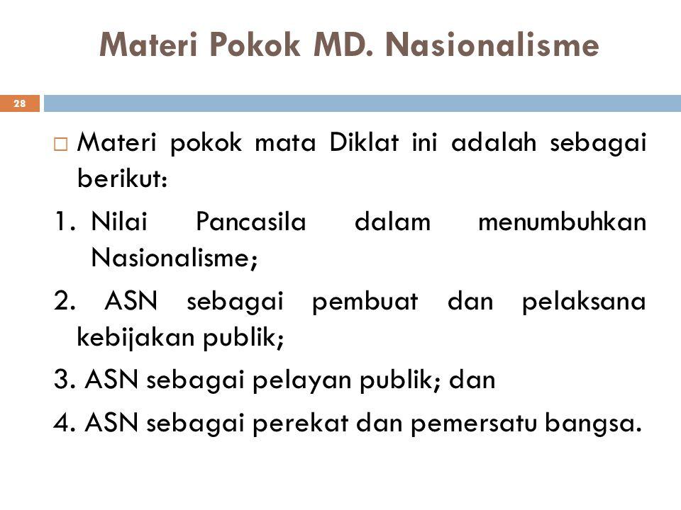 Setelah mengikuti pembelajaran ini, peserta akan dapat: 1.memahami peranan Pancasila dalam menumbuhkan nasionalisme ASN; 2. memahami fungsi dan peran