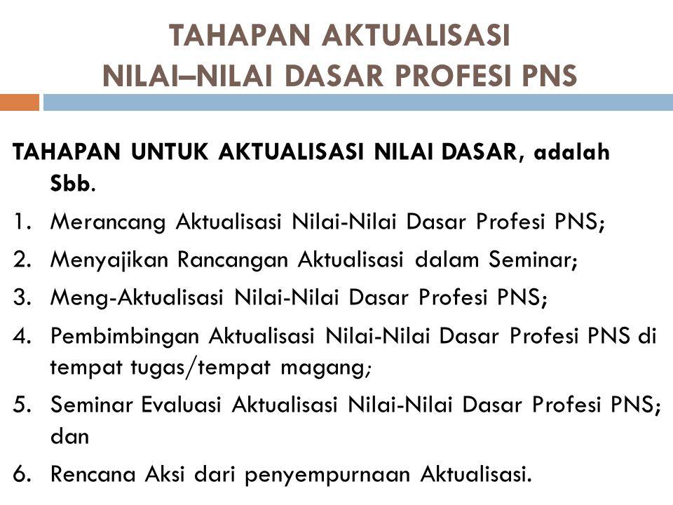 Setelah mengikuti pembelajaran ini, peserta diharapkan mampu mengaktualisasikan nilai-nilai dasar profesi PNS di tempat tugas/tempat magang masing-mas