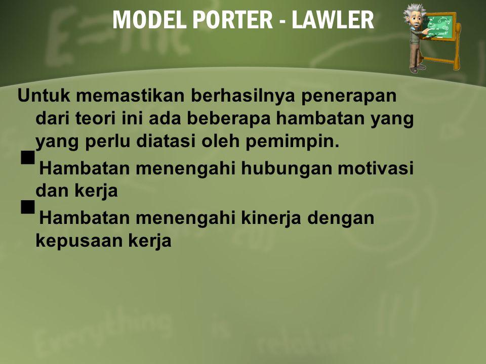 MODEL PORTER - LAWLER Untuk memastikan berhasilnya penerapan dari teori ini ada beberapa hambatan yang yang perlu diatasi oleh pemimpin.  Hambatan me