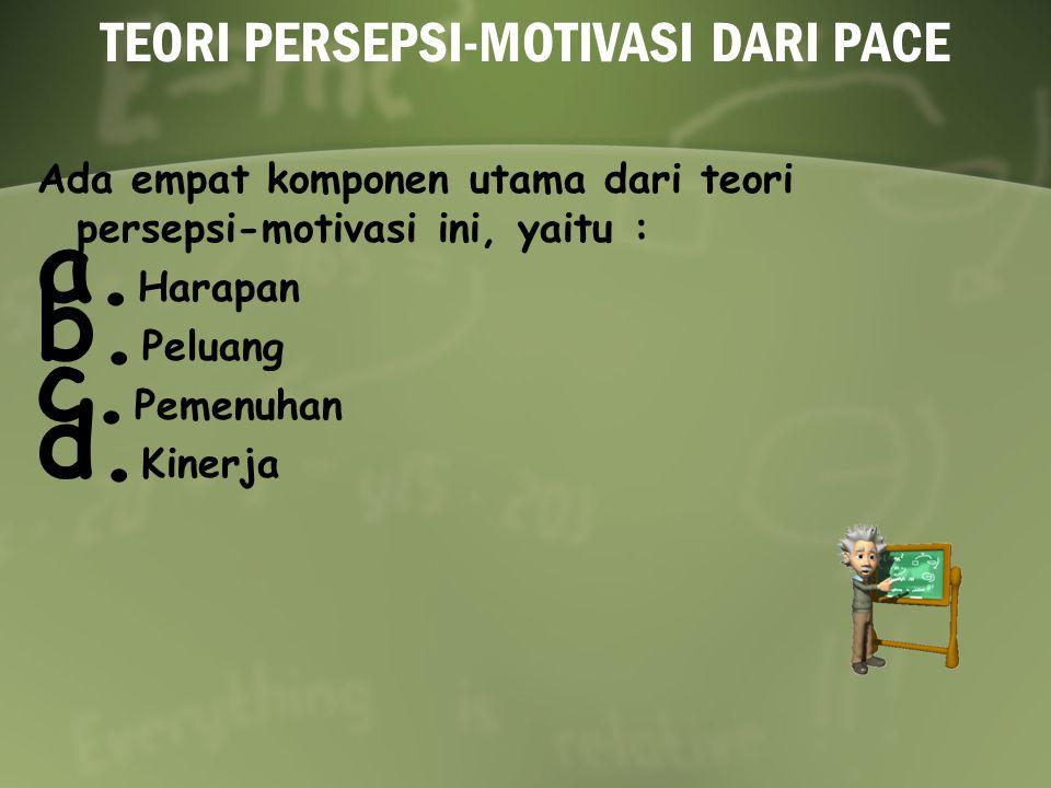 TEORI PERSEPSI-MOTIVASI DARI PACE Ada empat komponen utama dari teori persepsi-motivasi ini, yaitu : a.