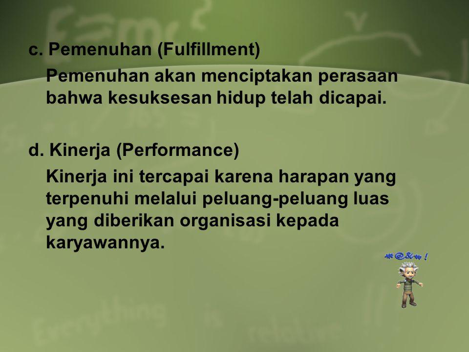 c. Pemenuhan (Fulfillment) Pemenuhan akan menciptakan perasaan bahwa kesuksesan hidup telah dicapai. d. Kinerja (Performance) Kinerja ini tercapai kar