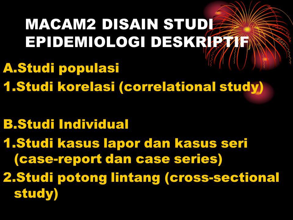 MACAM2 DISAIN STUDI EPIDEMIOLOGI DESKRIPTIF A.Studi populasi 1.Studi korelasi (correlational study) B.Studi Individual 1.Studi kasus lapor dan kasus s