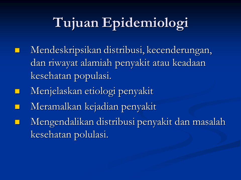 Tujuan Epidemiologi Mendeskripsikan distribusi, kecenderungan, dan riwayat alamiah penyakit atau keadaan kesehatan populasi. Mendeskripsikan distribus