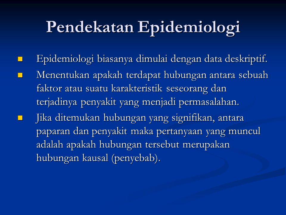 Pendekatan Epidemiologi Epidemiologi biasanya dimulai dengan data deskriptif. Epidemiologi biasanya dimulai dengan data deskriptif. Menentukan apakah
