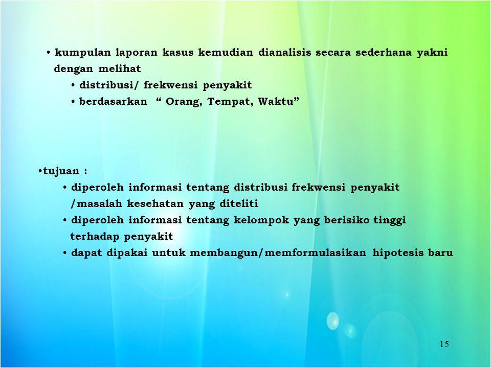 """15 kumpulan laporan kasus kemudian dianalisis secara sederhana yakni dengan melihat distribusi/ frekwensi penyakit berdasarkan """" Orang, Tempat, Waktu"""""""