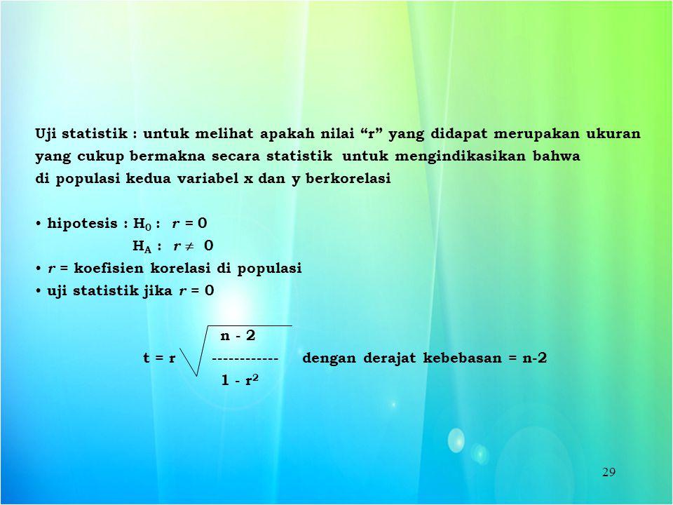 """29 Uji statistik : untuk melihat apakah nilai """"r"""" yang didapat merupakan ukuran yang cukup bermakna secara statistik untuk mengindikasikan bahwa di po"""