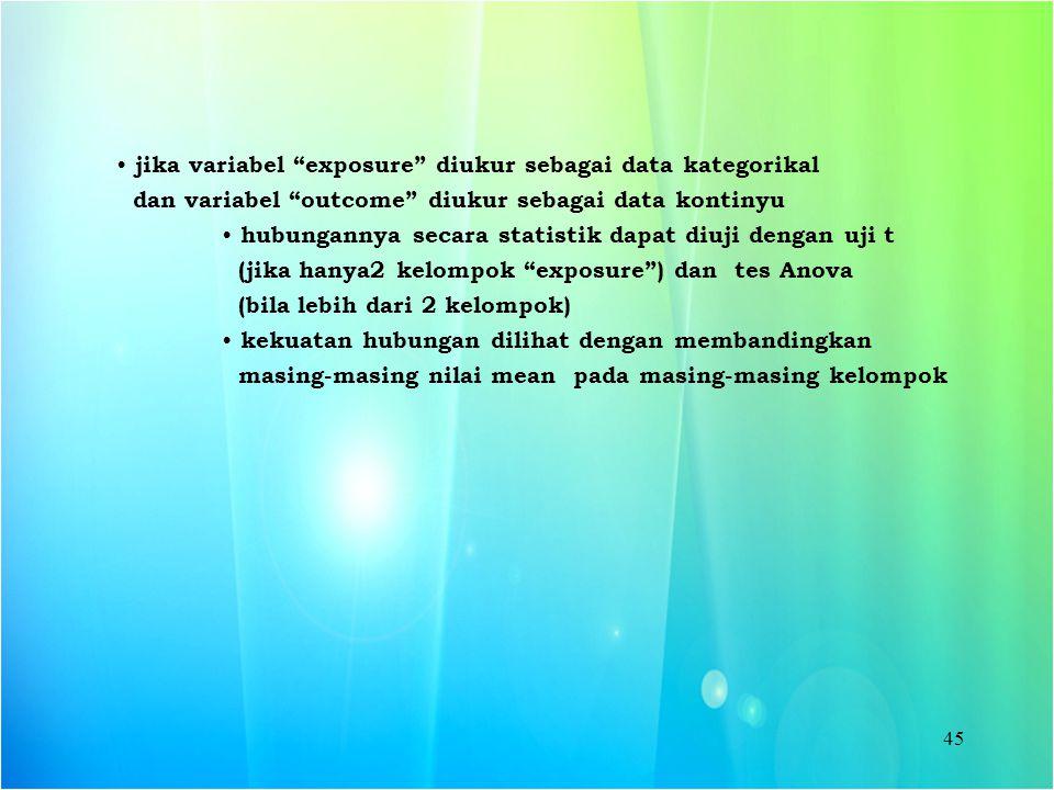 """45 jika variabel """"exposure"""" diukur sebagai data kategorikal dan variabel """"outcome"""" diukur sebagai data kontinyu hubungannya secara statistik dapat diu"""