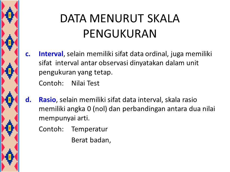 DATA MENURUT SKALA PENGUKURAN c.Interval, selain memiliki sifat data ordinal, juga memiliki sifat interval antar observasi dinyatakan dalam unit pengukuran yang tetap.