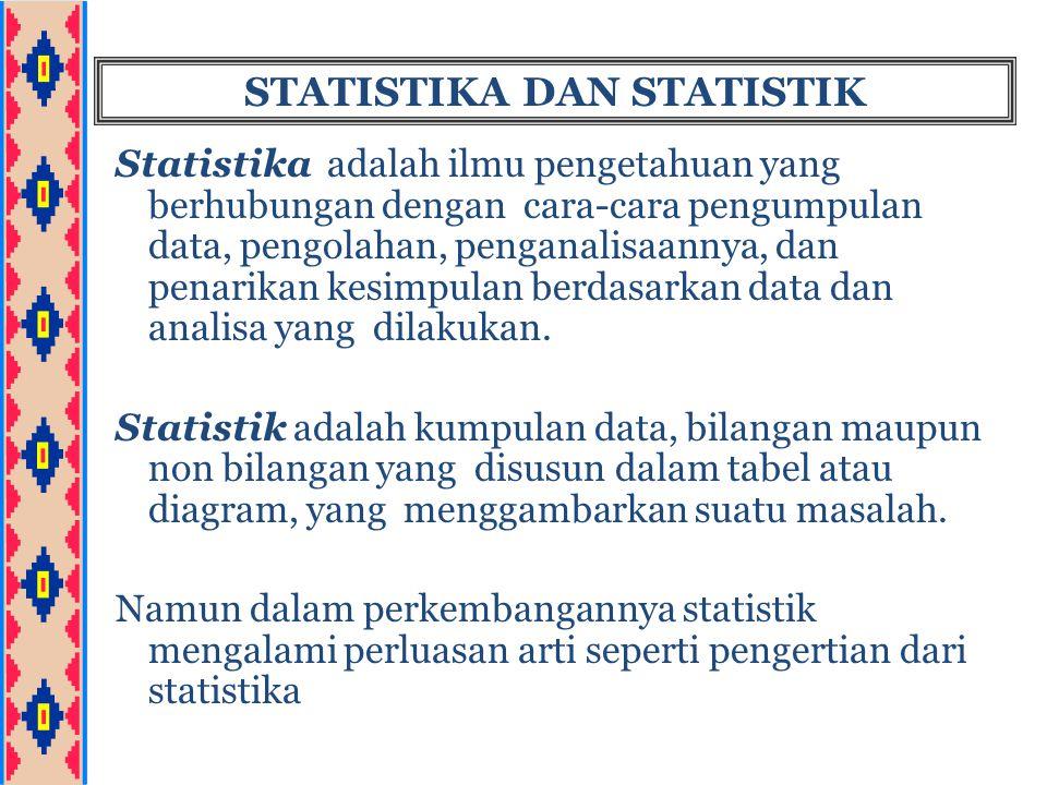 JENIS-JENIS STATISTIKA STATISTIKA Statistika Deskriptif Statistika Inferensial Materi: 1.Penyajian data 2.Ukuran pemusatan 3.Ukuran penyebaran 4.Angka indeks 5.Deret berkala dan peramalan Materi: 1.Probabilitas dan teori keputusan 2.Metode sampling 3.Teori pendugaan 4.Pengujian hipotesa 5.Regresi dan korelasi 6.Statistika nonparametrik