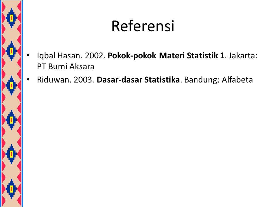 Referensi Iqbal Hasan. 2002. Pokok-pokok Materi Statistik 1. Jakarta: PT Bumi Aksara Riduwan. 2003. Dasar-dasar Statistika. Bandung: Alfabeta