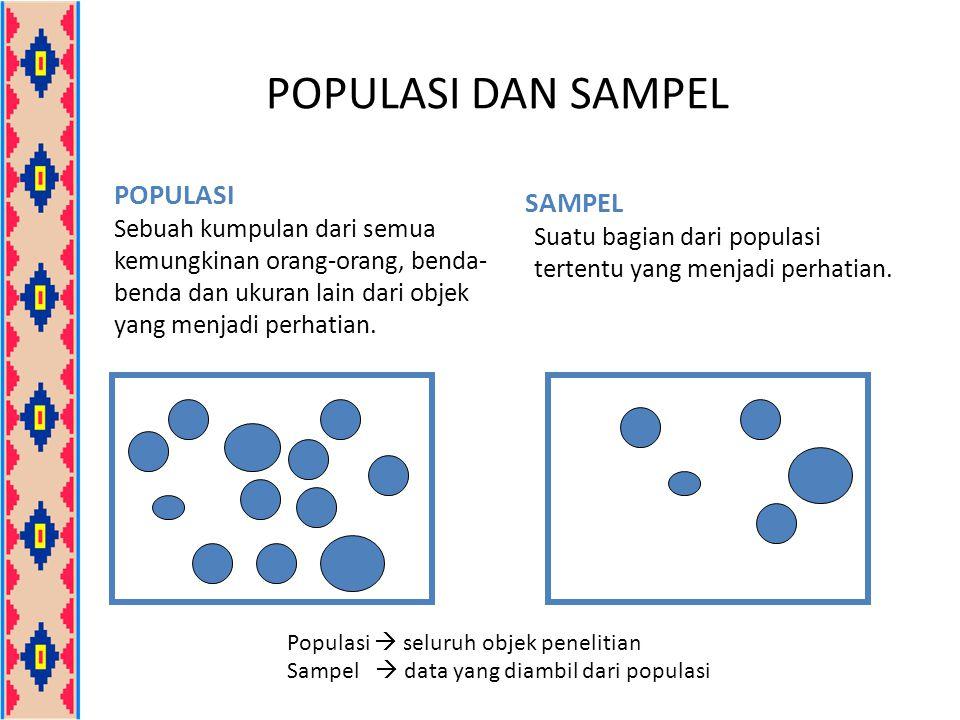 POPULASI DAN SAMPEL POPULASI Sebuah kumpulan dari semua kemungkinan orang-orang, benda- benda dan ukuran lain dari objek yang menjadi perhatian. SAMPE