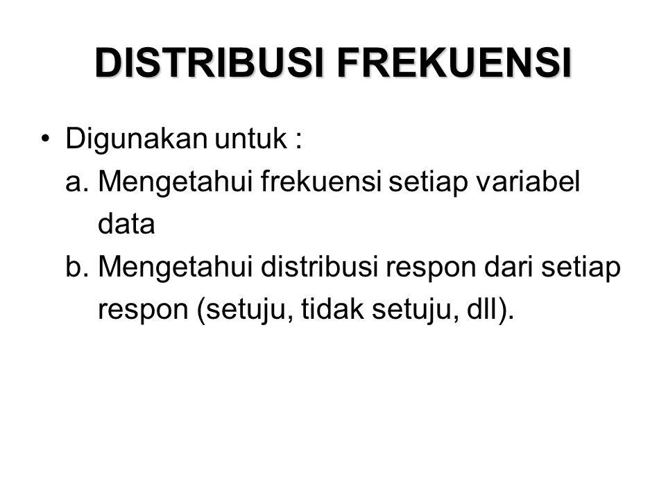 DISTRIBUSI FREKUENSI Digunakan untuk : a. Mengetahui frekuensi setiap variabel data b.
