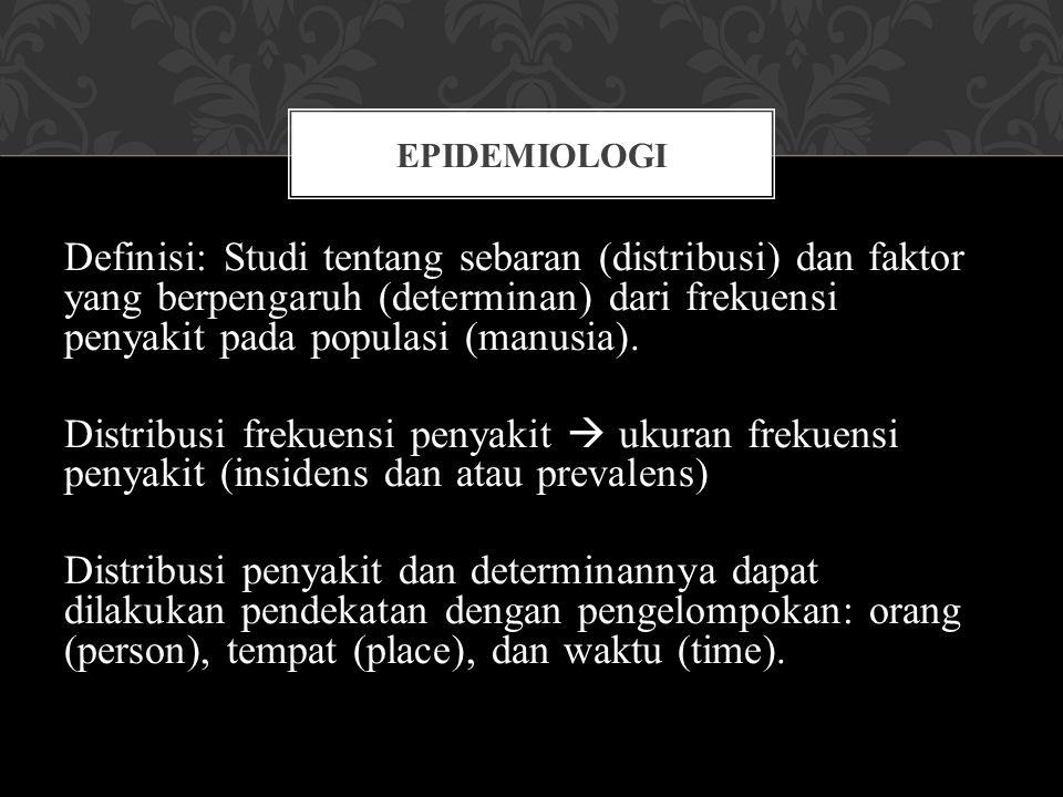Definisi: Studi tentang sebaran (distribusi) dan faktor yang berpengaruh (determinan) dari frekuensi penyakit pada populasi (manusia). Distribusi frek