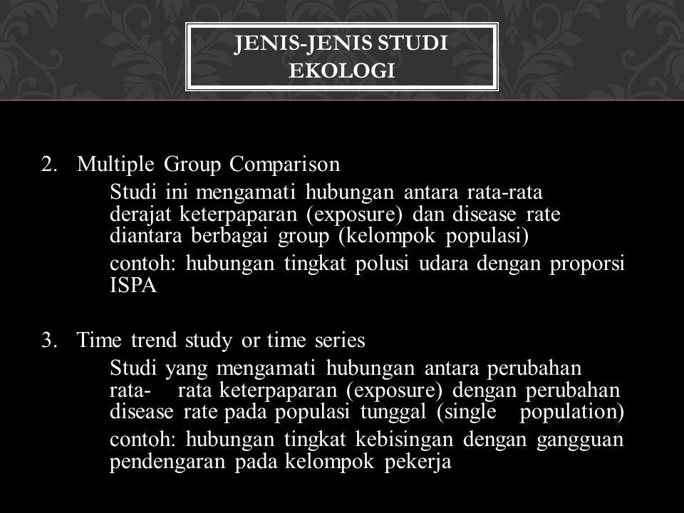 2. Multiple Group Comparison Studi ini mengamati hubungan antara rata-rata derajat keterpaparan (exposure) dan disease rate diantara berbagai group (k