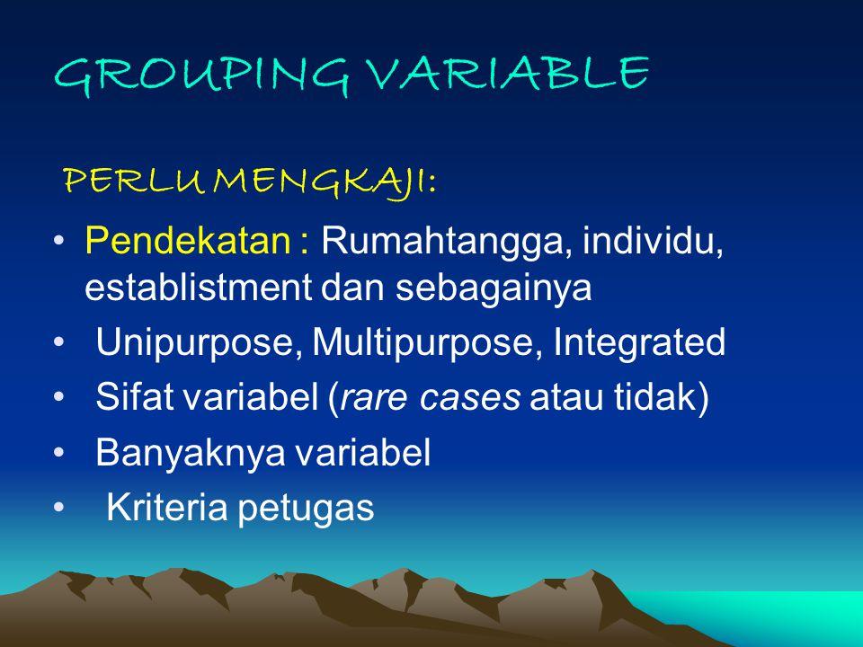 GROUPING VARIABLE PERLU MENGKAJI: Pendekatan : Rumahtangga, individu, establistment dan sebagainya Unipurpose, Multipurpose, Integrated Sifat variabel