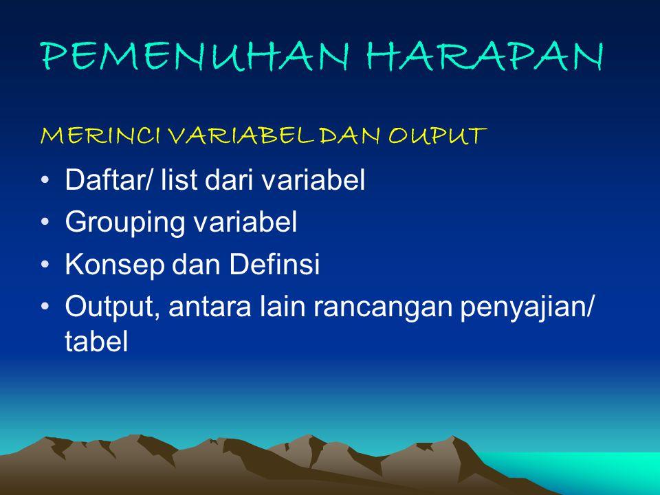 PEMENUHAN HARAPAN MERINCI VARIABEL DAN OUPUT Daftar/ list dari variabel Grouping variabel Konsep dan Definsi Output, antara lain rancangan penyajian/