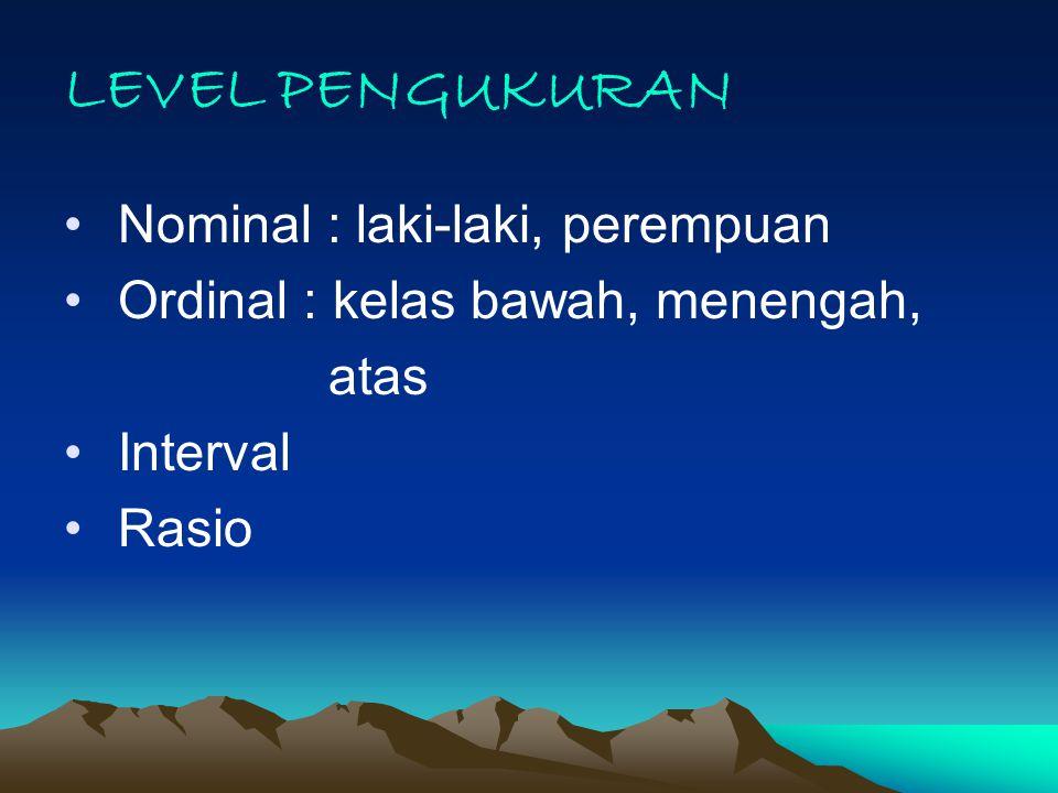 LEVEL PENGUKURAN Nominal : laki-laki, perempuan Ordinal : kelas bawah, menengah, atas Interval Rasio