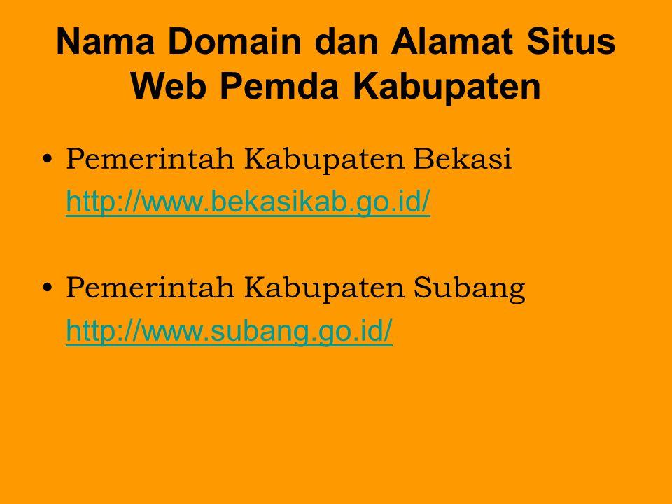 Nama Domain dan Alamat Situs Web Pemda Kabupaten Pemerintah Kabupaten Bekasi http://www.bekasikab.go.id/ Pemerintah Kabupaten Subang http://www.subang