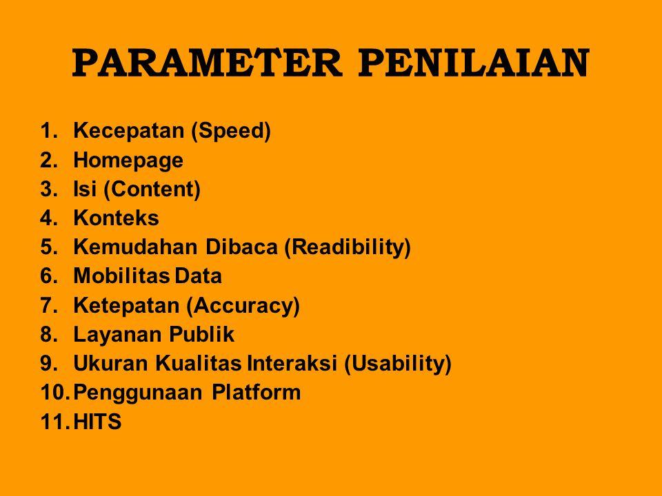 PARAMETER PENILAIAN 1.Kecepatan (Speed) 2.Homepage 3.Isi (Content) 4.Konteks 5.Kemudahan Dibaca (Readibility) 6.Mobilitas Data 7.Ketepatan (Accuracy)