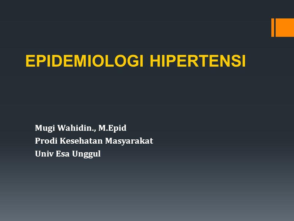 Mugi Wahidin., M.Epid Prodi Kesehatan Masyarakat Univ Esa Unggul EPIDEMIOLOGI HIPERTENSI