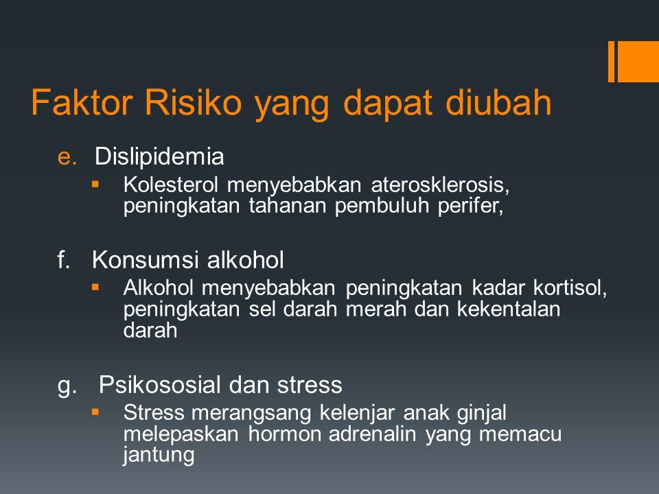 Faktor Risiko yang dapat diubah e.Dislipidemia  Kolesterol menyebabkan aterosklerosis, peningkatan tahanan pembuluh perifer, f. Konsumsi alkohol  Al