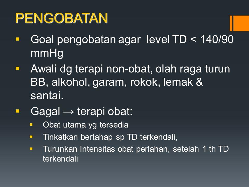 PENGOBATAN  Goal pengobatan agar level TD < 140/90 mmHg  Awali dg terapi non-obat, olah raga turun BB, alkohol, garam, rokok, lemak & santai.  Gaga