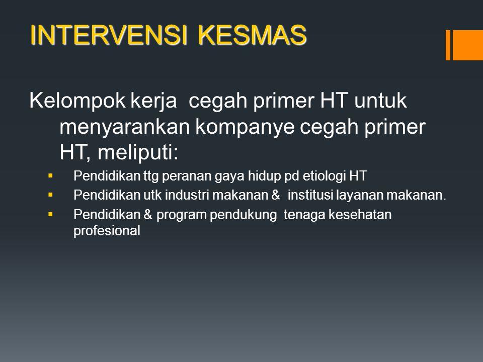 INTERVENSI KESMAS Kelompok kerja cegah primer HT untuk menyarankan kompanye cegah primer HT, meliputi:  Pendidikan ttg peranan gaya hidup pd etiologi