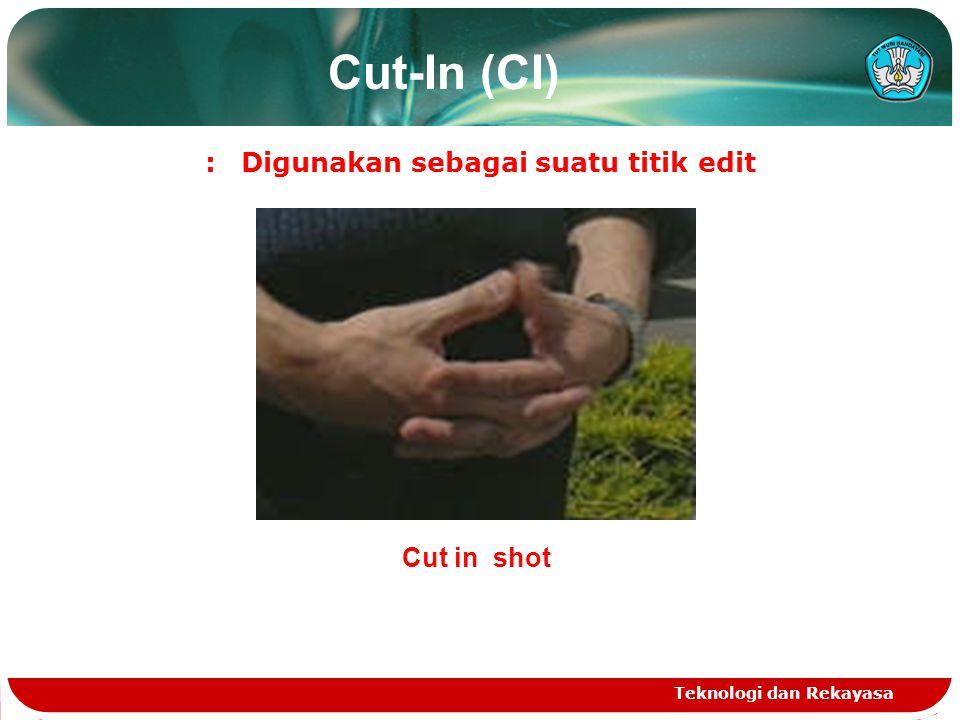 Cut-In (CI) :Digunakan sebagai suatu titik edit Teknologi dan Rekayasa Cut in shot