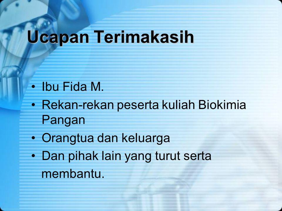 Ucapan Terimakasih Ibu Fida M. Rekan-rekan peserta kuliah Biokimia Pangan Orangtua dan keluarga Dan pihak lain yang turut serta membantu.