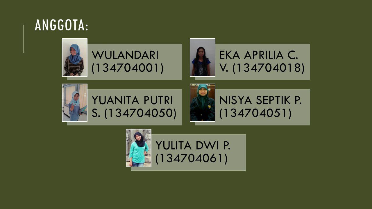 ANGGOTA: WULANDARI (134704001) EKA APRILIA C. V. (134704018) YUANITA PUTRI S. (134704050) NISYA SEPTIK P. (134704051) YULITA DWI P. (134704061)