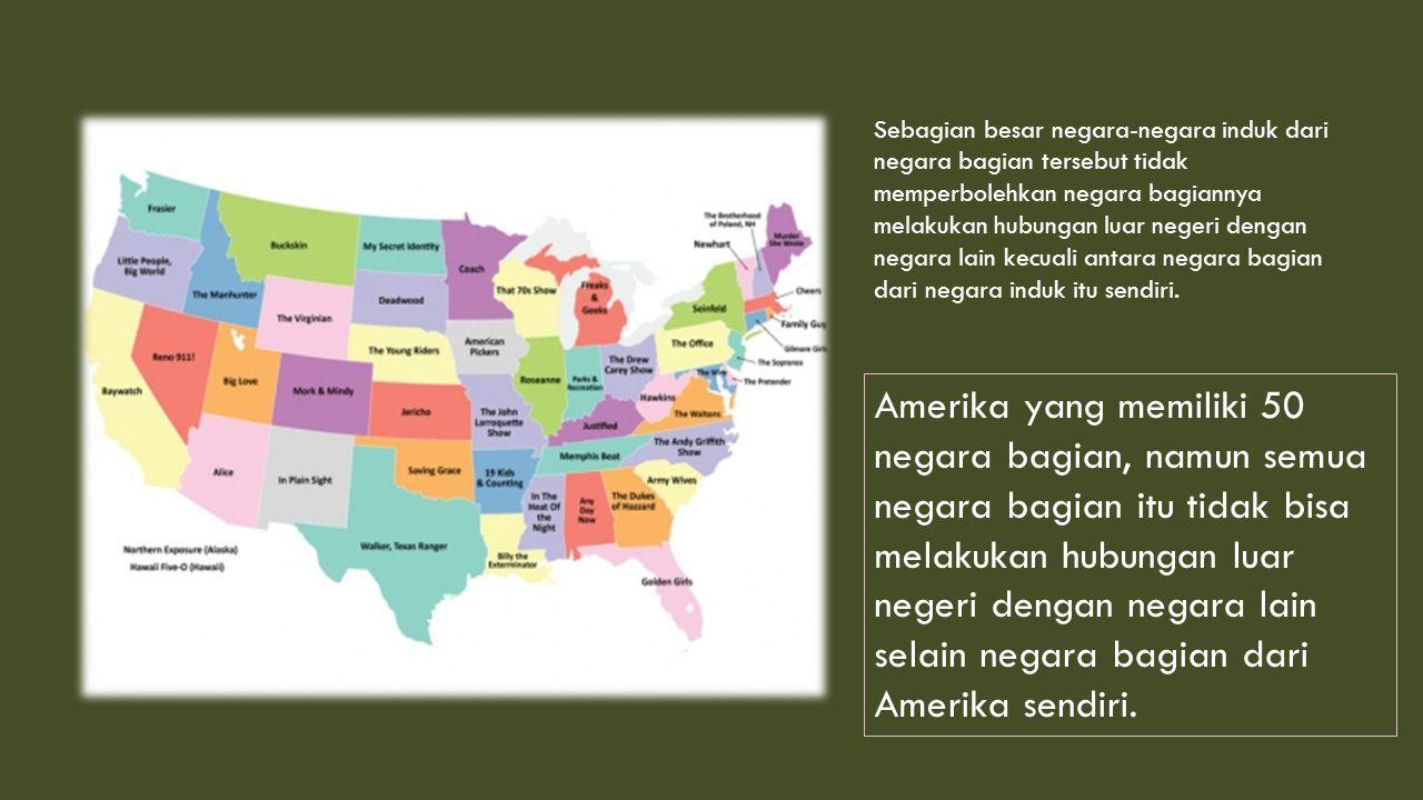 Sebagian besar negara-negara induk dari negara bagian tersebut tidak memperbolehkan negara bagiannya melakukan hubungan luar negeri dengan negara lain