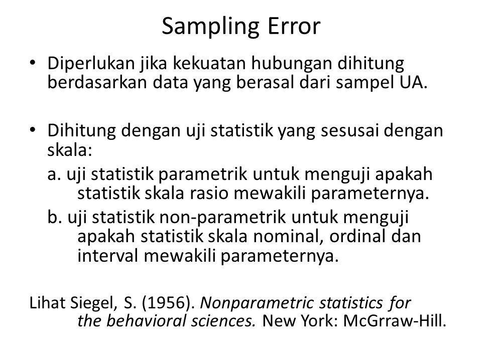 Sampling Error Diperlukan jika kekuatan hubungan dihitung berdasarkan data yang berasal dari sampel UA.