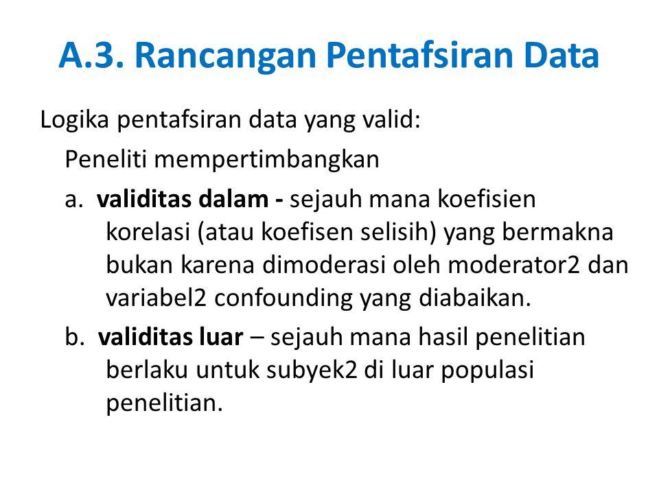 A.3.Rancangan Pentafsiran Data Logika pentafsiran data yang valid: Peneliti mempertimbangkan a.