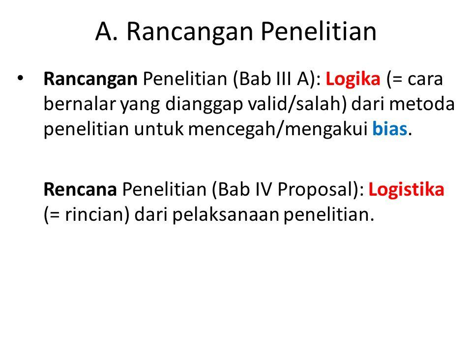 A. Rancangan Penelitian Rancangan Penelitian (Bab III A): Logika (= cara bernalar yang dianggap valid/salah) dari metoda penelitian untuk mencegah/men