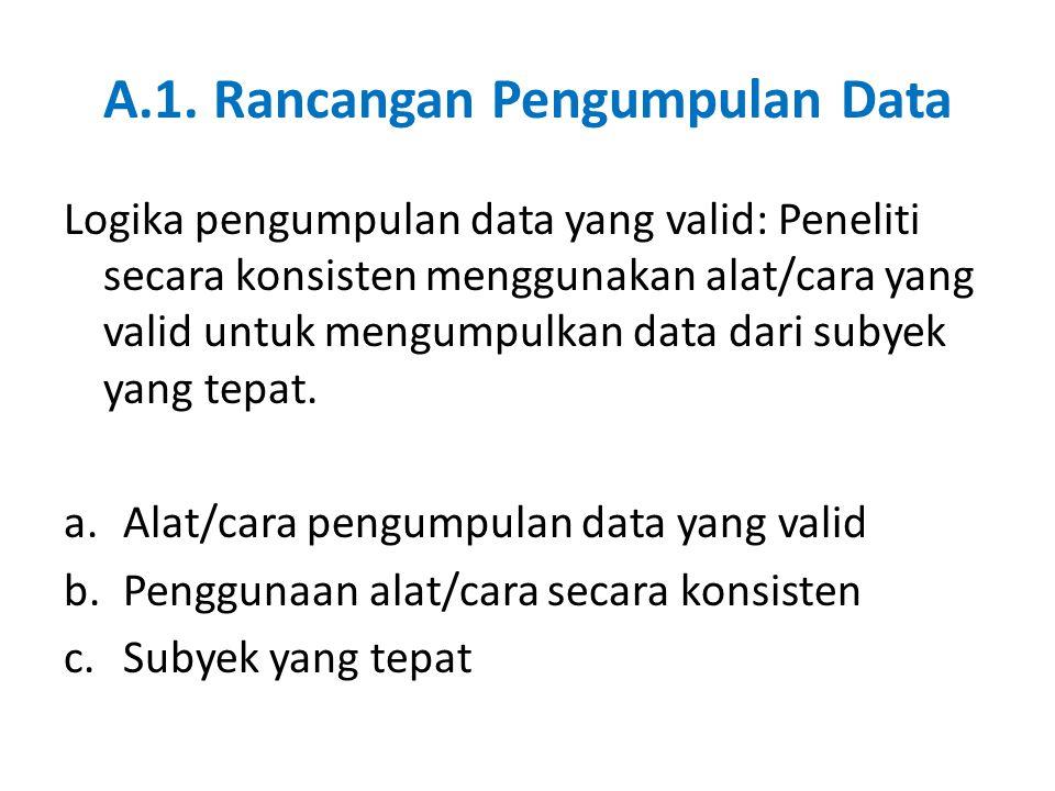 A.1. Rancangan Pengumpulan Data Logika pengumpulan data yang valid: Peneliti secara konsisten menggunakan alat/cara yang valid untuk mengumpulkan data