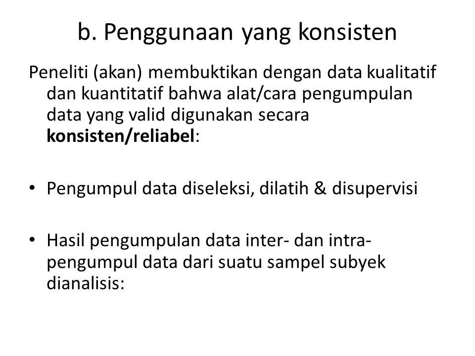 b. Penggunaan yang konsisten Peneliti (akan) membuktikan dengan data kualitatif dan kuantitatif bahwa alat/cara pengumpulan data yang valid digunakan