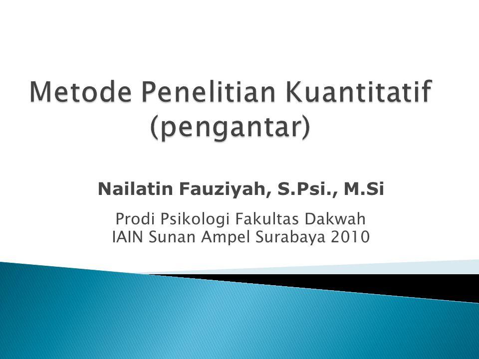 Nailatin Fauziyah, S.Psi., M.Si Prodi Psikologi Fakultas Dakwah IAIN Sunan Ampel Surabaya 2010