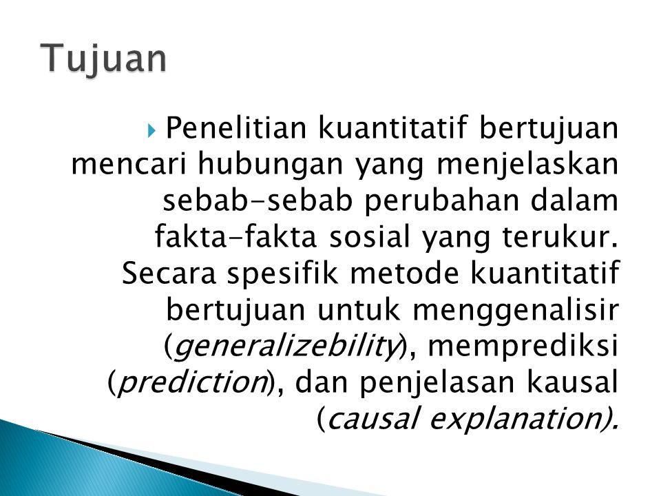  Penelitian kuantitatif bertujuan mencari hubungan yang menjelaskan sebab-sebab perubahan dalam fakta-fakta sosial yang terukur.