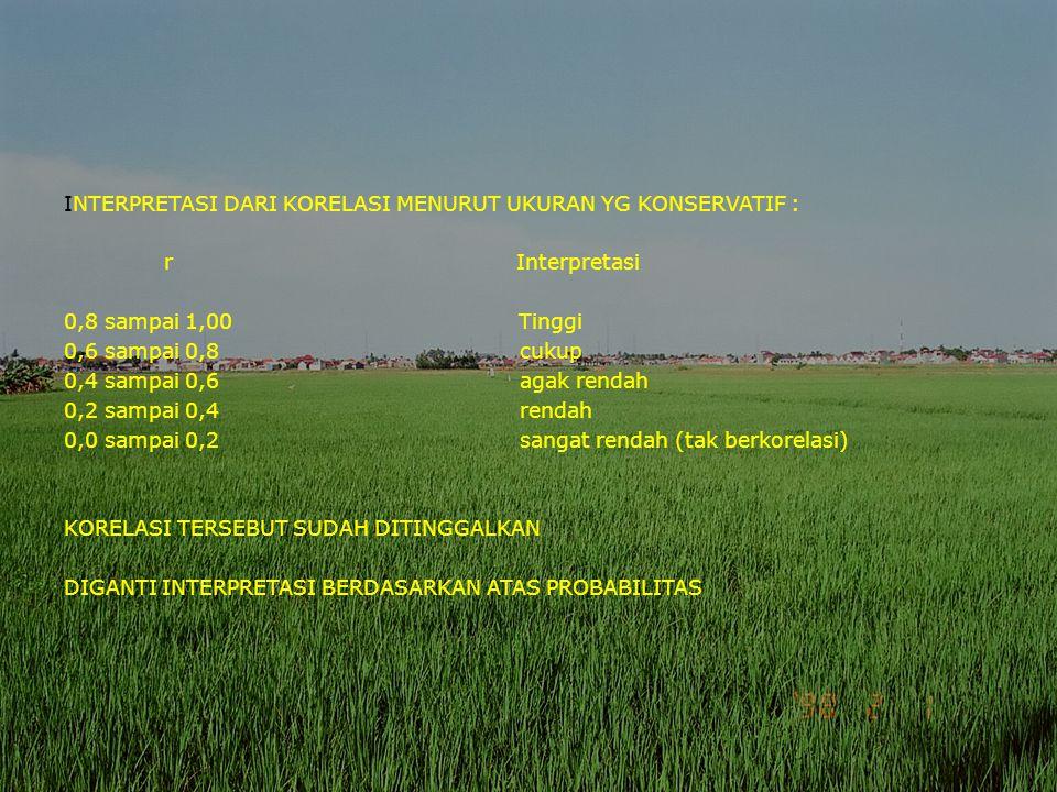 INTERPRETASI DARI KORELASI MENURUT UKURAN YG KONSERVATIF : r Interpretasi 0,8 sampai 1,00 Tinggi 0,6 sampai 0,8 cukup 0,4 sampai 0,6 agak rendah 0,2 sampai 0,4 rendah 0,0 sampai 0,2 sangat rendah (tak berkorelasi) KORELASI TERSEBUT SUDAH DITINGGALKAN DIGANTI INTERPRETASI BERDASARKAN ATAS PROBABILITAS